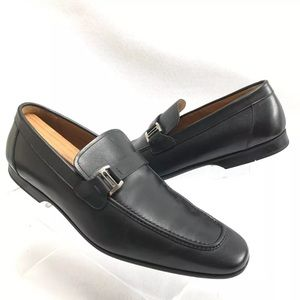 Magnanni Black Leather Loafers Sz 10M (15061)